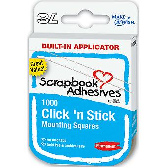 Click 'N Stick Permanent Mounting Squares 1000 Pkg White .5