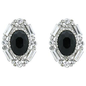 Victorian Black Stone and Clear Crystal Treasure Earrings