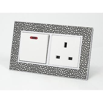 I LumoS AS Luxury Pearl Leather Double 45A Switch with Unswitched 13A UK Socket