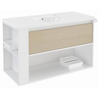 Bath+ Drawer Cabinet + Shelf With Porcelain Basin Oak-White-White 100