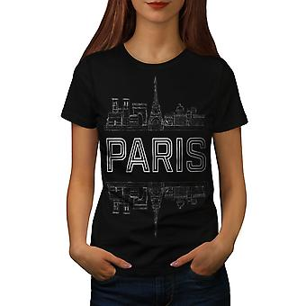 Paris City Design Women Black T-shirt | Wellcoda