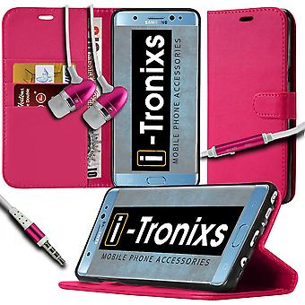 i-Tronixs OnePlus 3T PU Leather Wallet Flip Case + Earphones -Pink