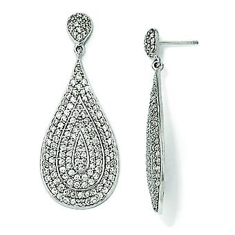 Sterling Silver CZ Teardrop dingla Post örhängen