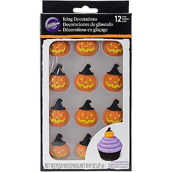 Royal Icing Decorations 12/Pkg-Pumpkin W/Witch Hat W102122