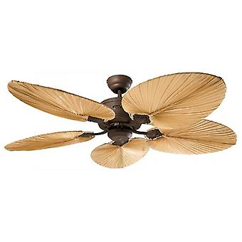 DC loft fan Eco elementer Brown antique med naturlig palme blade og fjernbetjening
