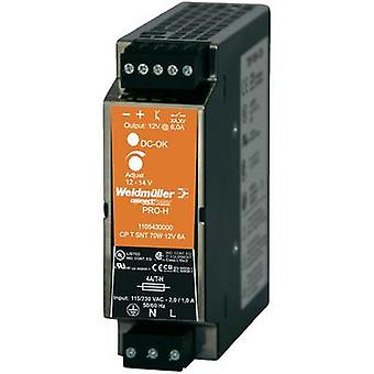 Weidmüller CP T SNT 70W 12V 6A Pro-H DIN Rail Power Supply 12 - 14Vdc 6A 70W, 1-Phase