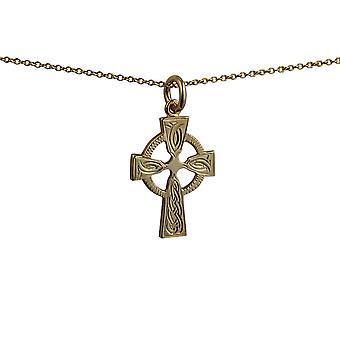 9ct Gold 23x16mm Hand gravierte Knoten Muster Keltisches Kreuz mit einem Kabel Kette 16 Zoll nur geeignet für Kinder