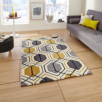 HK 7526 grijs gele rechthoek tapijten moderne tapijten
