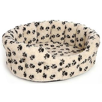Premium Oval Drop Front Softee Bed Fleece Paw Print Beige Size 5 76x64x24cm