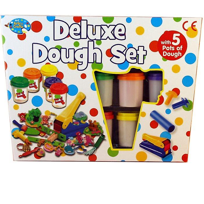 Deluxe Dough Set With 5 Pots Of Dough Kids Art & Craft Modelling Play set