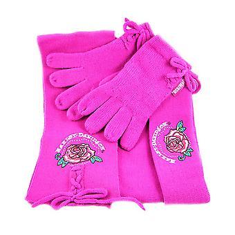 Hot Pink Harley Davidson Strik halstørklæde, handsker, Hat sæt