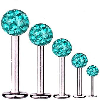 Labret Bar Tragus Piercing Titan 1,6 mm, Multi Kristall Kugel Aqua | 5 - 16 mm