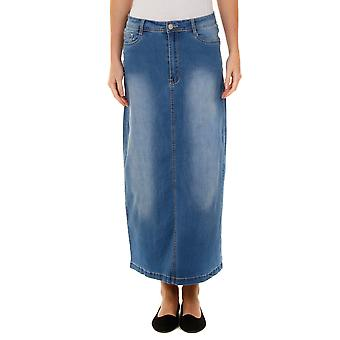 Stretch Denim Long Skirt - Stonewash SKIRT96 Womens Maxi Skirt Full Length Denim