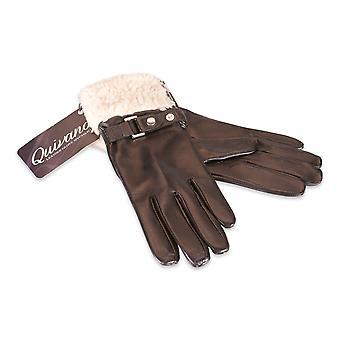 Quivano Ladies Real Leather Gloves Faux Sheepskin Fur Cuff Womens 308-200