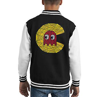 PacMan Ghost Polygon Stainglass Kid Varsity Jacket