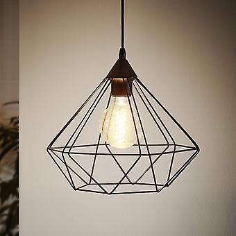 Eglo Tarbes Vintage Geometric Black Ceiling Pendant, Large