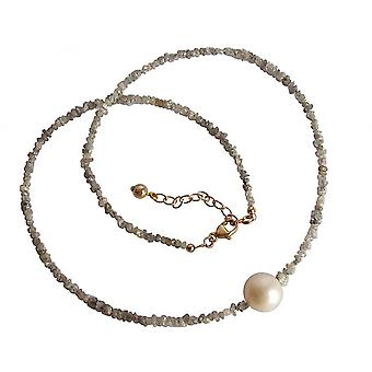 Ladies - necklace - diamond - gray - Pearl - White - 45 cm