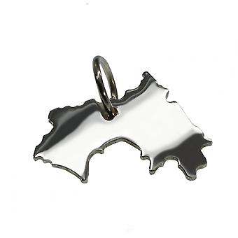 Trailer map GUINEA pendant in solid 925 Silver