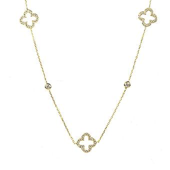 Necklace Long Open Clover Gold