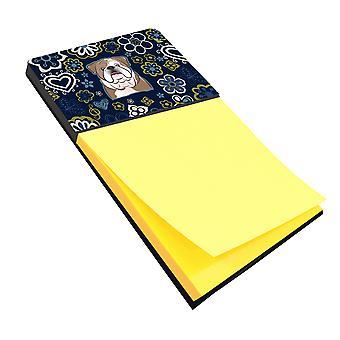 Каролинских сокровища BB5070SN голубые цветы Английский бульдог записки держатель