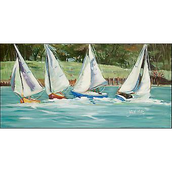 Segelboote auf der Bucht Indoor oder Outdoor Runner Mat 28 x 58