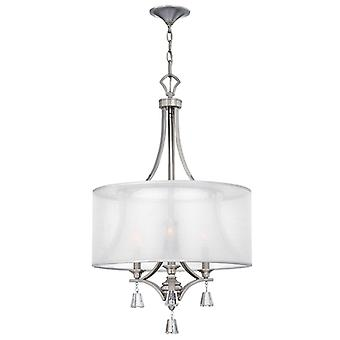 HK/MIME/3P Mime 3 Light Brushed Nickel Ceiling Pendant with Square Cry