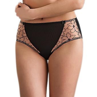 Nessa Women's Angela Beige and Black Floral Embroidered Knickers Full Brief
