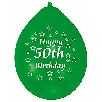 Amscan Happy 50th Birthday Multicoloured Party Balloons (Pack Of 10)
