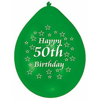 Amscan glad 50th Birthday flerfarget partiet ballonger (pakke med 10)