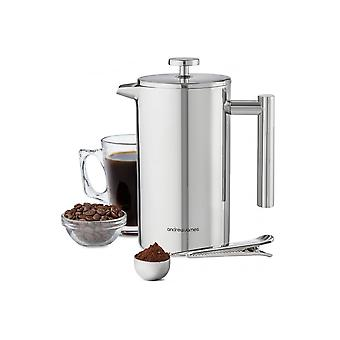 Andrew James 1000ml Stainless Steel Cafetiere Coffee Press With Measuring Spoon
