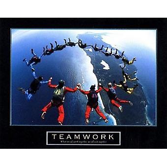 Teamwork - fallskärmshoppare II affisch Skriv (28 x 22)
