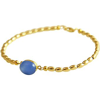 Gemshine - ladies - bracelet - gold plated - chalcedony - blue - 18 cm