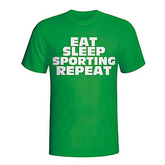 Eat Sleep Sporting Lisbon Repeat T-shirt (green)