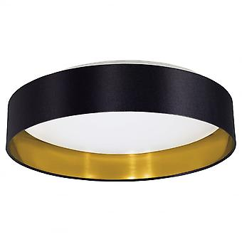 Eglo Maserlo Flush Ceiling Light Black And Gold Drum Shade