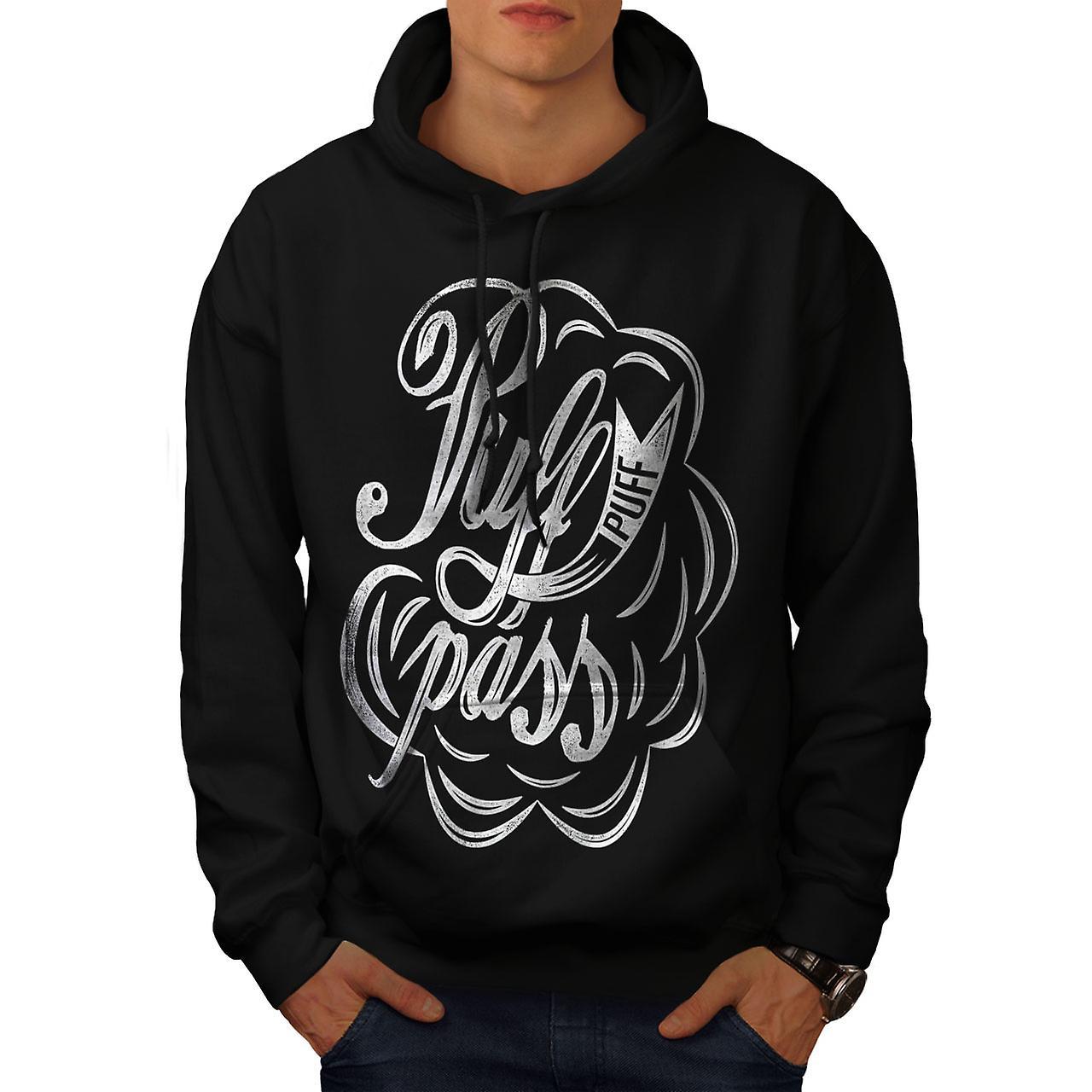 Pass Joint Weed Rasta Men Black Hoodie | Wellcoda