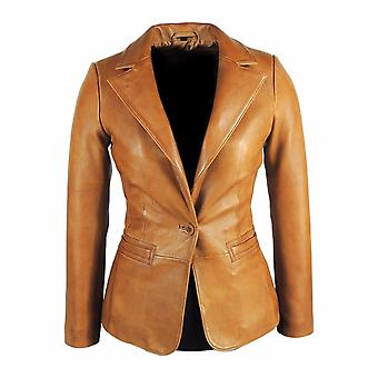 Womens Tapered Tan lederen Blazer - Awesome Lambskin