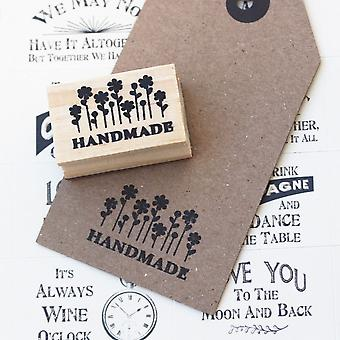 Handmade With Flowers Design Wooden Rubber Stamp / Craft / Scrapbooking