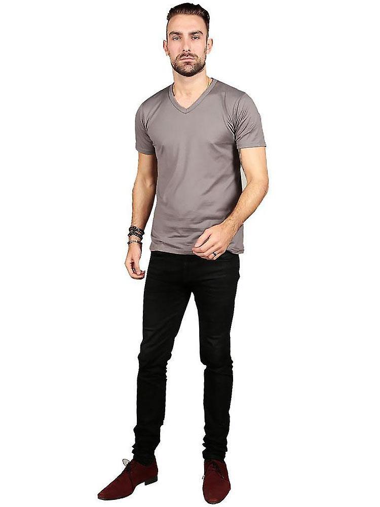 Short Sleeve V Neck - Grey