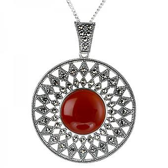 Shipton and Co Red Agate & Marcasite Sun God Pendant