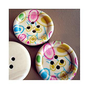 Packet 5 x Mixed/Cream Wood 25mm Round 4-Holed Patterned Sew On Buttons HA10770