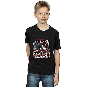 ジョニー ・ キャッシュの男の子徒歩行旗 t シャツ