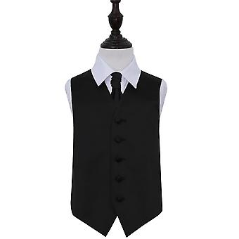 Black Plain Satin Wedding Waistcoat & Cravat Set for Boys