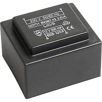 PCB mount transformer 1 x 230 V 2 x 12 V AC 3.60 VA 150 mA PTG382402 Gerth