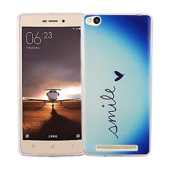 Mobiele case voor de Xiaomi Redmi 3 cover case beschermende zak motief slim TPU + armor bescherming glas 9 H belettering glimlach Blau