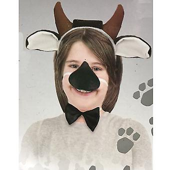 Cow Animal Set Ear Nose Tail Choker Book Week Boys Girls Costume Kit with Sound