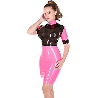 Westward Bound Mistress Lucille Rubber Latex Dress. Black With Warm White Trim.