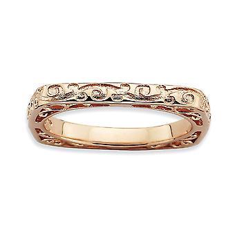 2,25 mm Sterling Zilver patroon stapelbare expressies gepolijst roze-plaat Square Ring - Ringmaat: 5 tot en met 10