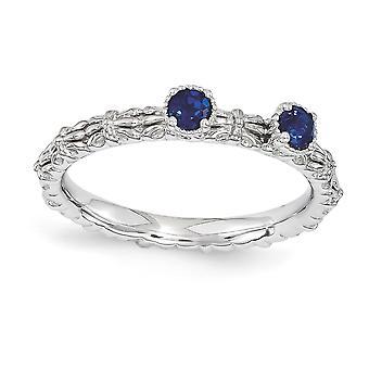 2,5 mm argento lucido Polo set impilabile espressioni creato Sapphire due pietra anello rodiato - anello Siz