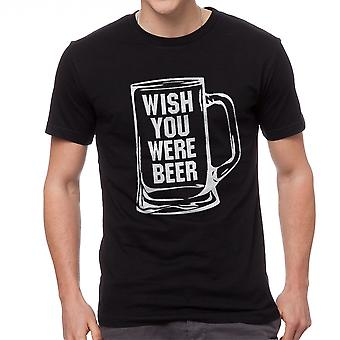 Funny Drink Wish You Were Beer Graphic Men's Black T-shirt