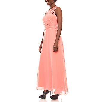 Melrose soft flowing women's lace evening dress coral